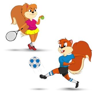 Die lustige Sache ist, dass Eichhörnchen spielt. Vektor der Tierbilder, die spielen