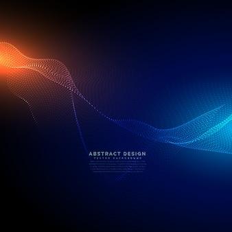 Digitale Partikel fließen auf blauem Technologiehintergrund