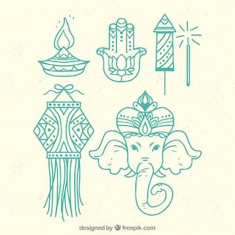 Diwali-Elemente mit linearem Design