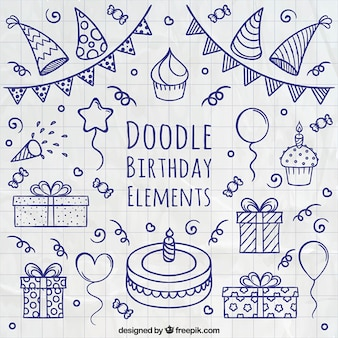 Doodle Geburtstag Elemente