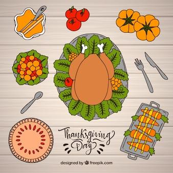 Draufsicht Thanksgiving-Elemente