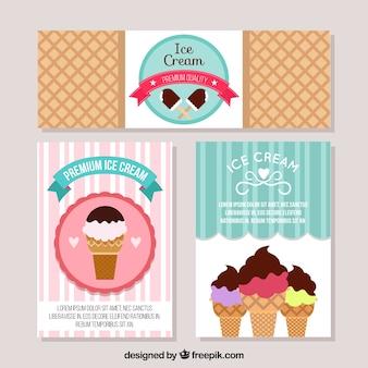 Drei dekorative Karten mit Eis in flachem Design