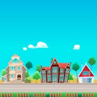Drei Häuser auf der anderen Straßen