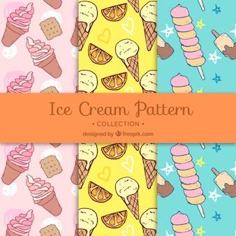 Drei leckere Muster mit handgezeichneten Eis