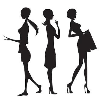 Drei Mode Mädchen Silhouette isoliert auf weißem Hintergrund