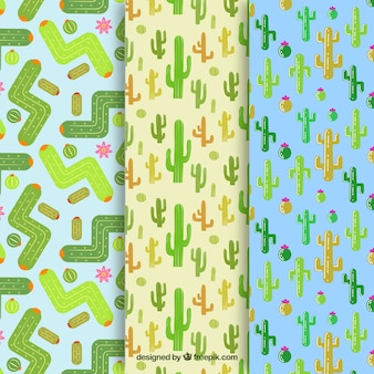 Drei verschiedene Kaktusmuster