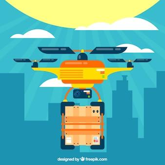 Drone Lieferung mit flachem Design