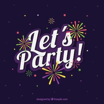 Dunkelblauen Party Hintergrund mit farbigen Feuerwerk
