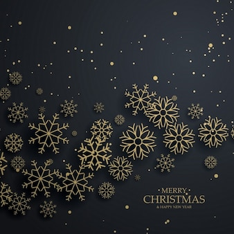 Ehrfürchtigen schwarzen Hintergrund mit gold Schneeflocken für Weihnachten