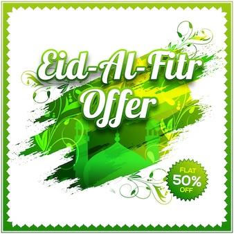 Eid Al Fitr Angebot Poster, Banner oder Flyer Design. Kreativer Hintergrund mit Moschee und Blumenmuster in grünem und weißem Farbton.