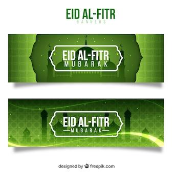 Eid al fitr Banner grünes Design