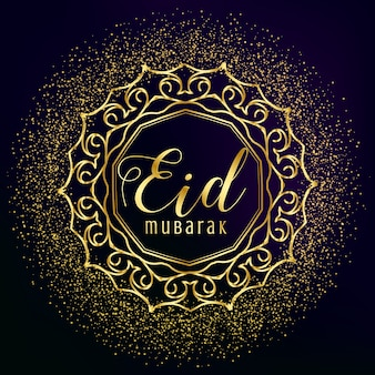 Eid mubarak gruß mit goldener mandala dekoration und glitter