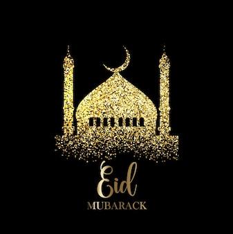 Eid Mubarak Hintergrund mit Gold Glitzer Effekt