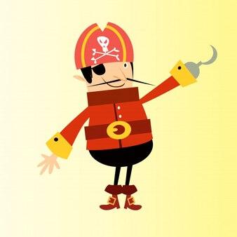 Ein Auge Haken Piraten Räuber Matrose Zeichentrickfigur