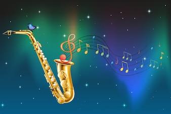 Ein Saxophon mit Schmetterling und Noten