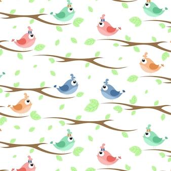 Ein Vogel auf dem Zweig Muster