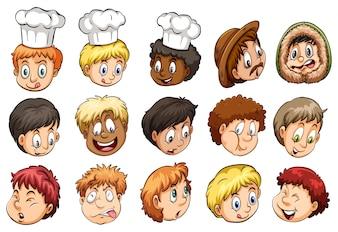 Eine Gruppe von Gesichtern zeigt verschiedene Ausdrücke auf einem weißen Hintergrund