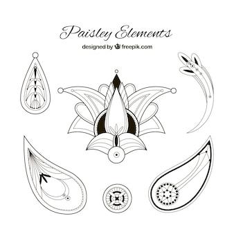 Einfache Paisley-Elementen in Schwarz und Weiß