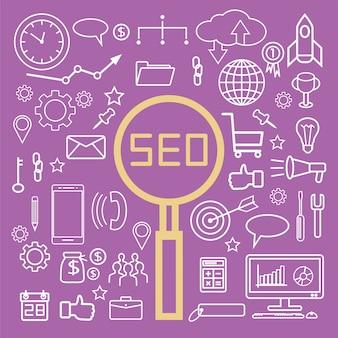 Einfache SEO Suchmaschinenoptimierung Icons Set, grundlegende Elemente, Vektor-Illustration.