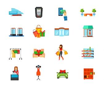 Einkaufszentrum Icon Set