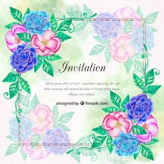 Einladung mit Aquarell Blumen