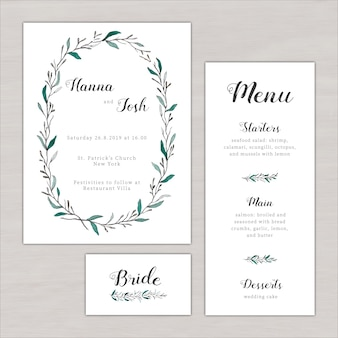 Einladung zur Hochzeit mit der Hand gemalt botanischen Elemente gesetzt