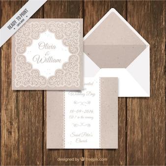 Einladung zur Hochzeit mit hübschen Verzierungen