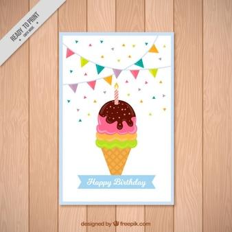 Eis mit einer Kerze, alles Gute zum Geburtstag