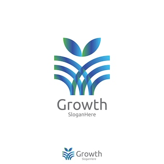 Elegant wachsen Blatt- oder Blumenlogoikonen-Vektordesign mit grün-blauem Natur- und frischem Farbentwurfskonzept. Logoschablone für frisches Produkt, Yoga, Schönheitspflege oder irgendwelche Dienstleistungen.