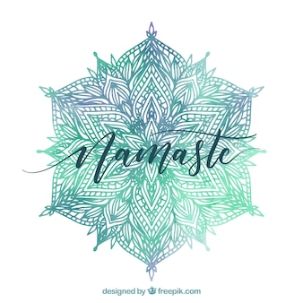 Elegante Aquarell Mandala Hintergrund und Namaste Schriftzug