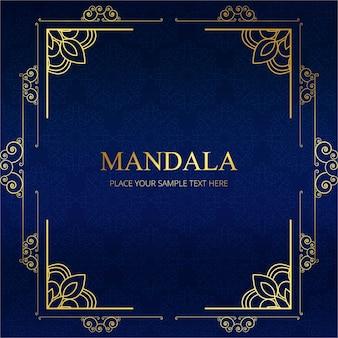 Elegante blaue Mandala Rahmen Design