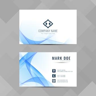 Elegante blaue Wellen Visitenkarte Design