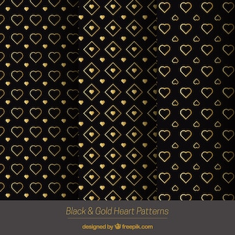 Elegante goldene Herzen Muster