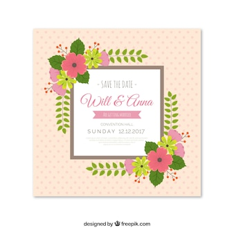 Elegante Hochzeitseinladung mit Blumen