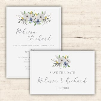 Elegante Hochzeitseinladungen eingestellt
