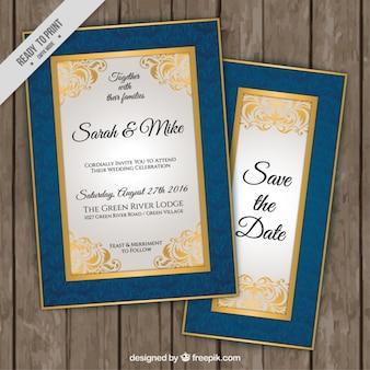Elegante Hochzeitseinladungen mit blauen und goldenen Rand