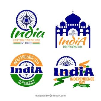 Elegante indische Unabhängigkeitstag Etiketten