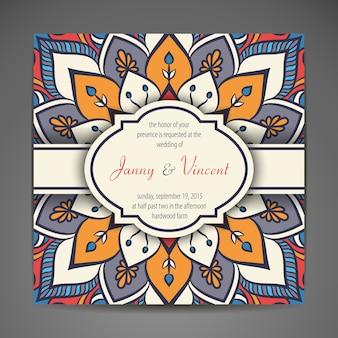 Elegante indische Verzierung auf einem dunklen Hintergrund Stilvoller Entwurf Kann als Grußkarte oder Hochzeitseinladung benutzt werden