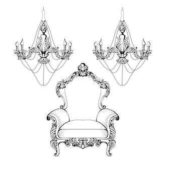 Elegante ornamentale Möbelkollektion