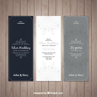 Elegante silberne Hochzeitseinladungen