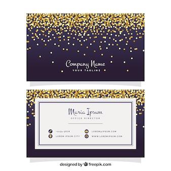 Elegante Visitenkarte mit goldener Konfetti