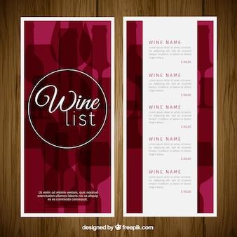 Elegante Weinkarte