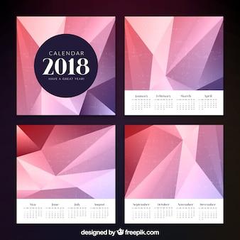 Eleganter polygonaler Kalender 2018