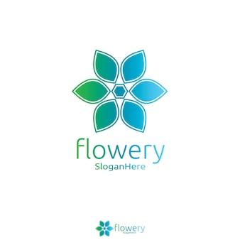 Elegantes Blumenlogoikonen-Vektordesign mit grün-blauem Natur- und frischem Farbdesignkonzept. Geschlungene Blätter Logotype Design Vektor Luxus-Mode-Vorlage.