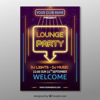 Elegantes Partyplakat mit Neonlichter
