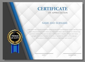 Elegantes Zertifikat der Wertschätzung