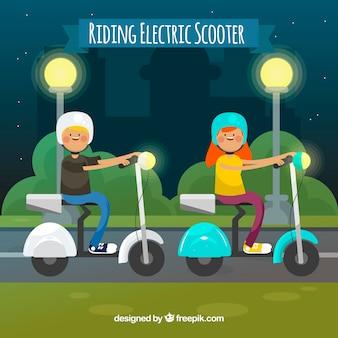 Elektro-Scooter-Konzept in der Nacht