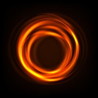 Energie orange Kreis auf schwarzem Hintergrund
