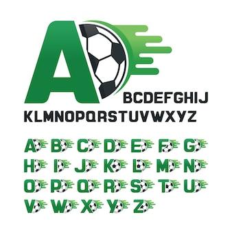 Englisches Alphabet mit Fußball-Grafiken und Bewegungslinie, Buchstaben gesetzt mit Fußball-Grafiken