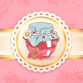 Erdbeermarmelade Retro-Hintergrund